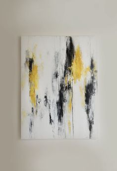 "40"" x 30"" Yellow, Black, Gray, White Abstract Painting. $1,250.00, via Etsy."