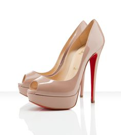 Christian Louboutin Lady Peep Pump in Nude... These shoes are just so beautiful... Beyond words. They are like foot candy from the gods!