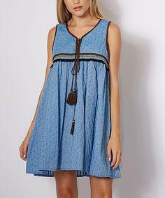 Blue Tassel-Neck Embroidered Sleeveless Dress