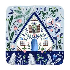 'Blue Cottage' is a giclee print of an original painting showing a blue cottage with flowers in icy blues and pinks with a little cat in. House Illustration, Digital Illustration, Tole Painting, Painting & Drawing, Watercolor Paper Texture, Cute House, House Drawing, Thing 1, Art Reproductions