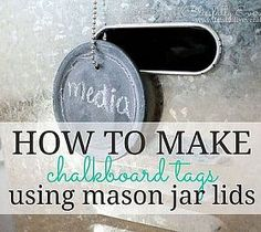 Mason Jar Crafts {DIY Chalkboard Tags} - We had a ton of mason jar lids leftover from when we switched out our drinking glasses to mason jars in the kitchen. Jar Lid Crafts, Mason Jar Crafts, Diy Crafts, Chalkboard Tags, Chalkboard Paint, Chalk Paint, Foam Paint, Canning Jar Lids, Mason Jar Lids