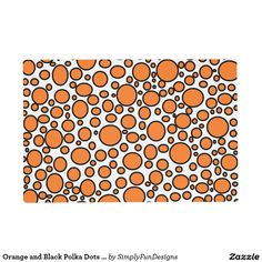 Orange and Black Polka Dots Laminated Placemat