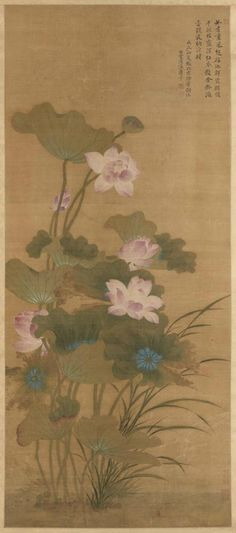 Summer lotus, Yun Shouping (Chinese, 1633 - 1690), dated 1688, Qing dynasty (1644-1911). Hanging scroll, Colors on silk. Asian Art Museum, B69D5. Photo: © Asian Art Museum.