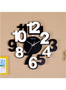 Modern Simple Wood Digit Black and White Wall Clock Silver Wall Clock, White Wall Clocks, Silver Walls, Diy Clock, Clock Decor, Kitchen Wall Clocks, Wall Clock Online, Wood Clocks, Wall Clock Wood