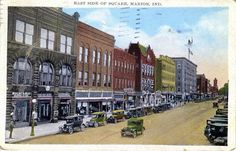 East side of Marion, Indiana's downtown square 1937.  Photo/Nancy Earhart-Romeo facebook.