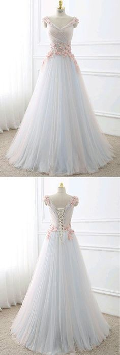 Plus Size Prom Dress, Cute flowers appliqued white tulle long prom dress Shop plus-sized prom dresses for curvy figures and plus-size party dresses. Ball gowns for prom in plus sizes and short plus-sized prom dresses Tulle Prom Dress, Homecoming Dresses, Bridesmaid Dresses, Wedding Dresses, Wedding Flowers, Prom Gowns, Chiffon Dresses, Party Dress, Quinceanera Dresses