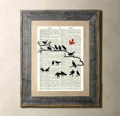 Bird gathering printed on a vintage dictionary page