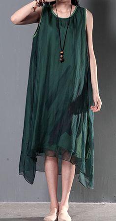 2016 New linen dresses for summer layered silk flown sundresses long casual maxi dresses tea green