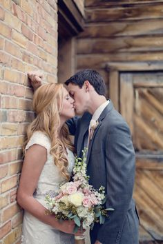 rustic/wedding/bouquet/neutrals/country/grey suit/brown shoes/photography/modest/dress/wedding hair/boots/barn wedding/lace