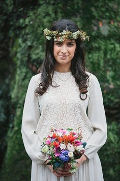 A London bride wearing Chloe and a floral crown. Photography by www.mckinley-rodgers.com/index2.php#!/HOME