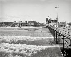 """Old Orchard Beach:  Circa 1904. """"Old Orchard, Maine, from pier."""" Surf, sand, and Lady Zamora. 8x10 inch dry plate glass negative, Detroit Publishing Company. Click to view full (very large) size."""