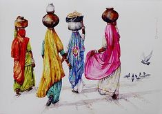 Giclée print, 'Villagers' by Siva Balan - Colorful Fine Art Print from India Indian Artwork, Indian Folk Art, Indian Art Paintings, Rajasthani Painting, Rajasthani Art, Scrapbooking Image, Composition Painting, India Art, Art Plastique