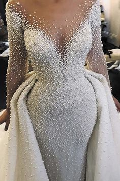 Stunning Tulle Scoop Neckline 2 In 1Wedding Dresses With Imitation Pearls & Detachable Skirt Wedding Dress Buttons, V Neck Wedding Dress, Luxury Wedding Dress, Classic Wedding Dress, Long Sleeve Wedding, Princess Wedding Dresses, Cheap Wedding Dress, Bridal Dresses, Wedding Gowns