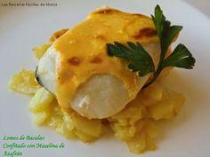 Lomos de Bacalao Confitado con Muselina de Azafrán, haz de tu bacalao de siempre, una receta fácil pero lujo, mira que sencillo es.