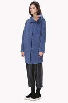 Wool blend oversized pom pom knit coat