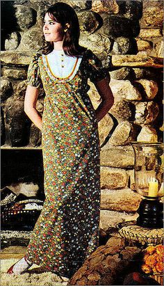 1960's granny gown with Colleen Corby, Seventeen magazine model