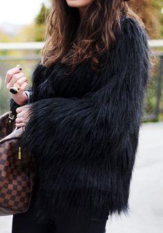 Black Faux Fur Coat - Outwear