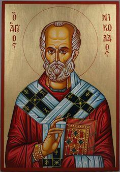 Saint Nicholas Hand-Painted Byzantine Icon on Wood