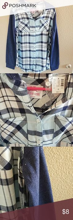 Justice Plaid Hooded Top Size 10 NWT Adorable Mixed Media Long Sleeve NWT Top from Justice. Buttons down the front with 2 pockets.  Sparkle on Sleeves and Hood  So Soft and Comfy Justice Shirts & Tops