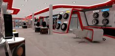 Automotive tyre showroom concept by yahkoob Valappil, via Behance