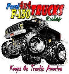 "F-150 4X4 MONSTER TRUCK-""YOUTH"" GILDAN 100% COTTON WHITE S/S T-SHIRT SIZE MEDIUM #Gildan #Everyday"