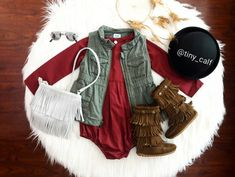 Baby/ toddler fall fashion outfit. Old navy Vest. Handmade wine/ burgundy romper. H&M fringe bag. Minnetonka boots. Target bowler hat. Boho baby. Bohemian.
