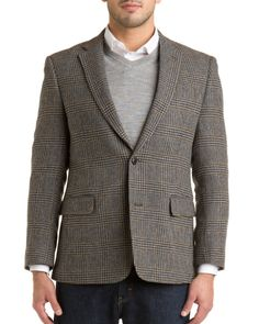 "Tommy Hilfiger ""Ethan"" Brown Plaid Trim Fit Wool Sport Coat USD 139.90"