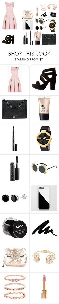 """""""Pink&Gold"""" by pinkloveparis on Polyvore featuring mode, BCBGMAXAZRIA, Bamboo, Chanel, Charlotte Russe, L'Oréal Paris, Gucci, MAC Cosmetics, NYX en Furla"""
