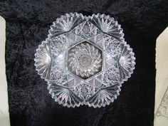 Cut Glass Bowl, Vintage Large 10 Inch, Scallop Sawtooth Border, Antique American Brilliant Period, ABP