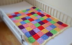 Handmade Crocheted Multicolored Baby Blanket by CravingCrochet, $100.00