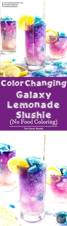 Color Changing Galaxy Lemonade Slushie - There's no food coloring in this Color Changing Lemonade Slushie! Just a dash of magic from magic ice and delicious VODKA -- lemonade that (kids?) and adults will love. The ultimate Summer Lemonade drink! Slushies, Lemonade Slushie, Slurpee, Flavored Lemonade, Mojito, Refreshing Drinks, Yummy Drinks, Healthy Drinks, Healthy Recipes
