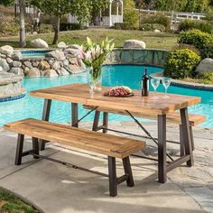 Outdoor Puerto Acacia Wood Picnic Dining Set by Christopher Knight Home (Brown with Grey Finish), Size Sets, Patio Furniture Outdoor Dining Set, Outdoor Tables, Outdoor Living, Outdoor Decor, Patio Dining, Picnic Tables, Outdoor Spaces, Outdoor Ideas, Home Depot Picnic Table