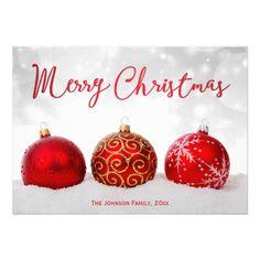 Red Decor Custom Merry Christmas Cards