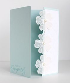 Handmade Stampin Up Sympathy Card Kit - off-center gate fold, vellum flowers #Handmade #ImSorry