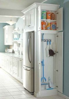 Add a cabinet to any dead space in your kitchen or laundry room for cleaning supplies.