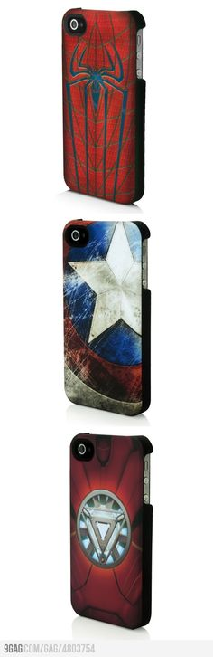 Superhero iPhone Cases!  These look really cool, but I abhor the iPhone.  If only I could find these for the Droid X...