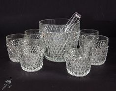 TheCordialMagpie on Etsy: Indiana Glass Diamond Point - Clear - Rocks Glass and Ice Bucket with Ice Tongs Set = Mad Men Style