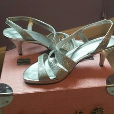 Silver heels Silver heels, worn once. Size 9 Apt. 9 Shoes Heels