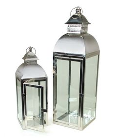 2 Modern Asian Inspired Stainless Steel And Glass Pillar Candle Holder Lanterns