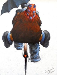 """By Alexander Millar """"Let yourself be drawn by the strange pull of what you love. It will not lead you astray. Umbrella Art, Under My Umbrella, Watercolor Paintings, Original Paintings, Art Addiction, Art Pictures, Photos, Human Art, Cycling Art"""