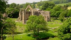 Bolton Abbey is in the heart of the Yorkshire Dales on the banks of the River Wharfe.