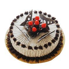 Chocolate and cherries and charm - all in one! What more could you ask for in order to make a special occasion even more special? This cake is made out of your favorite ingredient and topped with your favorite in such a charming manner that the atmosphere of the party will awaken with admiration and craving!