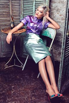 Street high fashion editorial, metallic