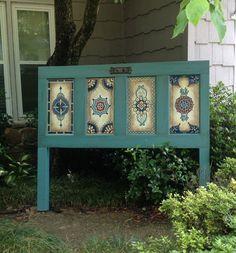 Antique door headboard, hand painted, queen headboard on Etsy, $385.00