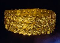 Gold crown found at the biblical town of Nimrud .Nimrud was the capital of Ashurnasirpal II. an Assyrian king of the 9th century BC