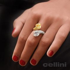 Make her #Heart go Double Time #DoubleHearts ##DoubleLove With Cellini Jewelers NYC Fancy diamonds!