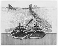 "Paul Rudolph, ""Lower Manhattan Expressway, New York City. Bird's-eye perspective section"". - print on mylar ; 97 x 122 cm"