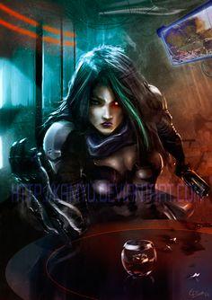 Cyberpunk Bar fight by Kamyu.deviantart.com on @DeviantArt