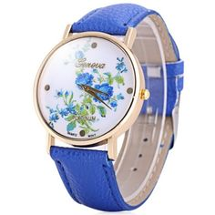 Hot Selling Geneva Quartz Flower Watch for Women Leather Band Rose PatternWatches   RoseGal.com