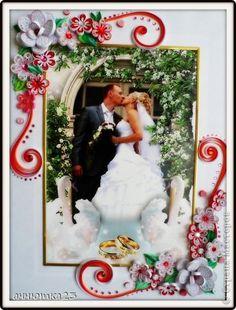 Картина панно рисунок Свадьба Квиллинг подарок на годовщину Бумага Бумажные полосы фото 1